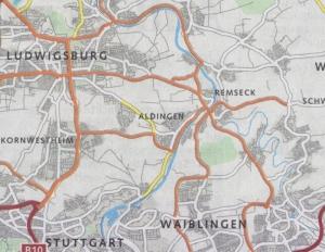 Die vom Landkreis beauftragte Firma Modus Consult hat die möglichen Lkw-Routen skizziert. Neuralgischer Punkt: Neckarquerung in Remseck