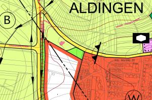 Eines von mehreren Beispielen: geplante Wohnbauflächen im Flächennutzungsplan, hier am westlichen Rand von Aldingen