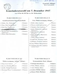 Ein Original-Wahlzettel von der Gemeinderatswahl in Aldingen am 07.12.1947