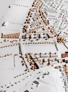 Am westlichen Rand soll die Neue Mitte von der verlegten Landesstraße (Westrandstraße) und einer Brücke über den Neckar (Westrandbrücke) begrenzt werden; das Bild zeigt das Modell des Siegerentwurfes aus dem Ideenwettbewerb.