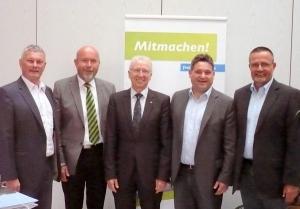 Die Remsecker Delegierten beim Freie Wähler-Tag in Wiesloch: Martin Wolf, Gerhard Waldbauer, Karl-Heinz Balzer, Rainer Plessing und Peter Großmann (von links)