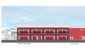 Mit dem Bau der Asylbewerber-Unterkunft an der Neckarkanalstraße in Aldingen wurde bereits begonnen; das Foto zeigt den Architektenentwurf.