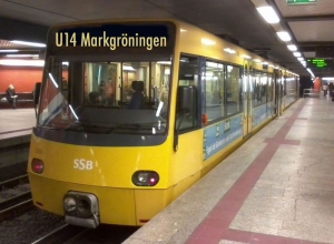 So könnte es aussehen, wenn nach der Stadtbahnverlängerung in Stuttgart ein Zug der Linie U14 abfährt